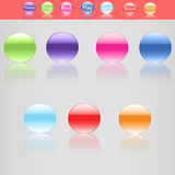 Set of seven beautiful buttons in different colors Stock Photography
