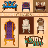 Set of seven chairs in retro and modern style Royalty Free Stock Photos