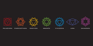 Set of seven chakra symbols with names. Vector Royalty Free Stock Photos