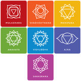 Set of seven chakra symbols with names Royalty Free Stock Photography