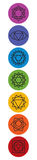 Set of seven chakra symbols. Yoga, meditation Stock Images