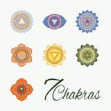 Set of seven chakras icons. Yoga,meditation and energy centers  simbols Royalty Free Stock Photo