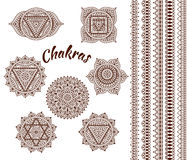 Set of seven chakras. Oriental ornaments and borders for henna tattoo and for your design. Buddhism decorative elements. Vector il Stock Photos