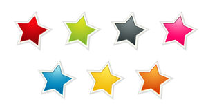 The set of seven color stars Royalty Free Stock Photo