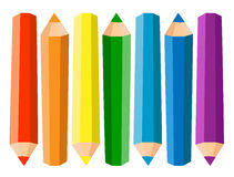 Set Of Seven Colored Pencils On White Background. Vector illustration. Stock Photo