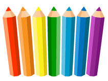 Set Of Seven Colored Pencils On White Background. Vector illustration. Stock Photos