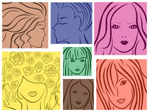 Set of seven colored women portrait Royalty Free Stock Photo