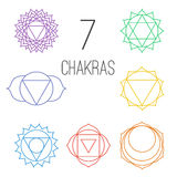 Set of seven colorful chakras. Linear character illustration of Hinduism and Buddhism. Royalty Free Stock Photo