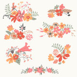 Set of seven cute floral bouquets Stock Images