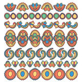 Set of seven decorative indian flower elements design Stock Images