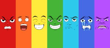 Set of seven faces expressing different emotions in a rainbow pattern stock illustration