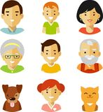 Set of seven family members avatars icons in flat style Stock Image
