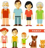 Set of seven family members in flat style Stock Images