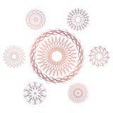 Set of seven geometric circular elements. Vector monogram on white background. Vector illustration Royalty Free Stock Photo