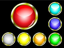 A set of seven glossy web buttons Royalty Free Stock Photos