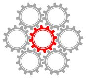 Set Of Seven Graphic Gears Gray And Red. Collection Of Seven Connected Graphic Gears Gray And Red vector illustration