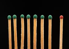 Set of seven green and one red wooden matches. Isolated on black background Stock Photography