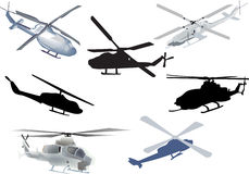 Set of seven helicopters isolated on white Stock Photo