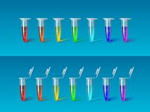Set seven Micro tube iridish color on blue Stock Photos