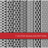 Set of seven monochrome geometrical patterns. Stock Images