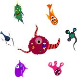 Set of seven monsters Stock Image