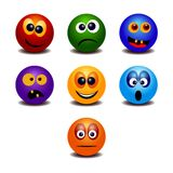 Set of seven rainbow colorful emoticons royalty free illustration