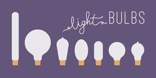 Set of seven retro lit light bulbs against purple background. With a title. Cartoon vector flat-style illustration royalty free illustration