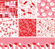 Set of seven sale and shopping seamless patterns Royalty Free Stock Photo