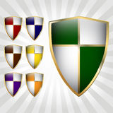 Set of seven shields Royalty Free Stock Images