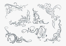 Set of seven stylish decorative elements - vintage corners for y Royalty Free Stock Photo