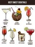 Set of seven summer cocktails. Vector illustration, color hand drawn sketch Stock Image