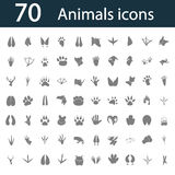 Set of seventy simple animals icons. Simple animals icons set for web and mobile design Royalty Free Stock Photography