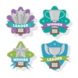 Several of silver cups for the winner. Vector illustration. Stock Photo