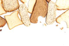Set of several slices of different bread on a white background royalty free stock images