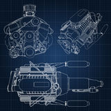 A set of several types of powerful car engine. The engine is drawn with white lines on a dark blue sheet in a cage.  Royalty Free Stock Images