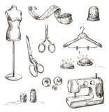 Set of sewing accessories drawings Royalty Free Stock Photography