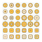 Set of sewing buttons of different shapes for design Stock Photo