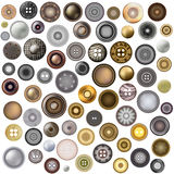 Set of sewing buttons isolated on white background. Realistic Accessories Metal Jeans Round Button or Rivets Set Web Royalty Free Stock Images