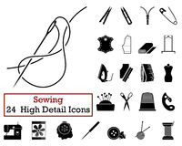 Set of 24 Sewing Icons Stock Photos