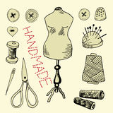 Set with sewing items. Hand drawn set with sewing items Royalty Free Stock Images