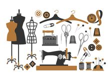 Set of sewing items. Set of isolated vector elements for sewing and Couture Royalty Free Stock Photography