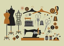 Set of sewing items. Set of  vector elements for sewing and Couture Stock Image