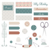 Set of Sewing Materials with Planner Elements Stock Photos