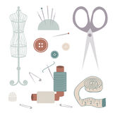 Set of Sewing Materials. Set of vector sewing materials - threads, needles, metre ruler, buttons, pins, thimble, scissors, mannequin Stock Photography