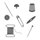 Set of sewing and needlework icons. Royalty Free Stock Photography