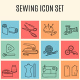Set of sewing and needlework  icons. Set of sewing and needlework line icons. Collection of design elements. Vector illustration Stock Images