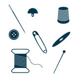 Set of sewing and needlework icons. Stock Photos