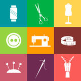 Set of sewing and needlework line icons Royalty Free Stock Photo