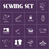 Set of sewing and tailoring icons. Vector. Illustration. Hand drawn Stock Images