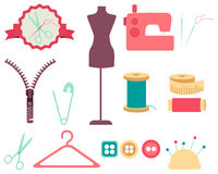 Set of sewing tools and accessories Stock Photography